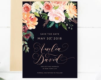 Rose Gold  Save the date, Botanical save the date, Save our Date, Watercolor Navy Save the date, Burgundy Navy Greenery Save The Date 008