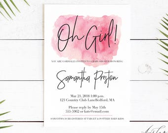 Oh Baby Invitation, Elegant Baby Shower, Simple Baby Shower Invitation, Oh Girl Invitation, Gender Neutral, Oh Girl, Minimal Baby Shower 008