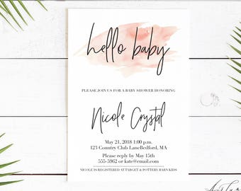 Oh Baby Invitation, Elegant Baby Shower, Simple Baby Shower Invitation, Oh Girl Invitation, Gender Neutral, Oh Girl, Minimal Baby Shower 006