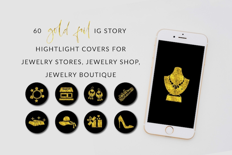 Jewelry & Accessories Store Instagram Highlights, Gold Foil Shop Insta  highlights, Online shop Icons, Digital Download, Jewellery shop icons
