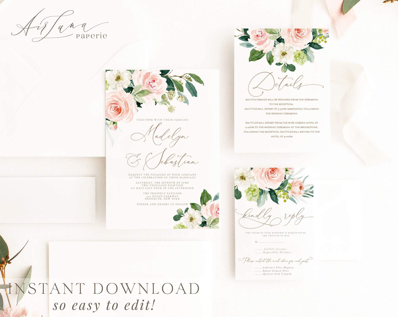 Blush Peony Wedding Invitation Template Printable Wedding ...