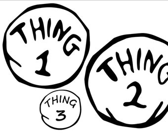 THING 1 or THING 2 - COSTUME  - Iron on Transfer  (15cm x 14cm)