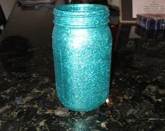 Teal glitter Large mason jar