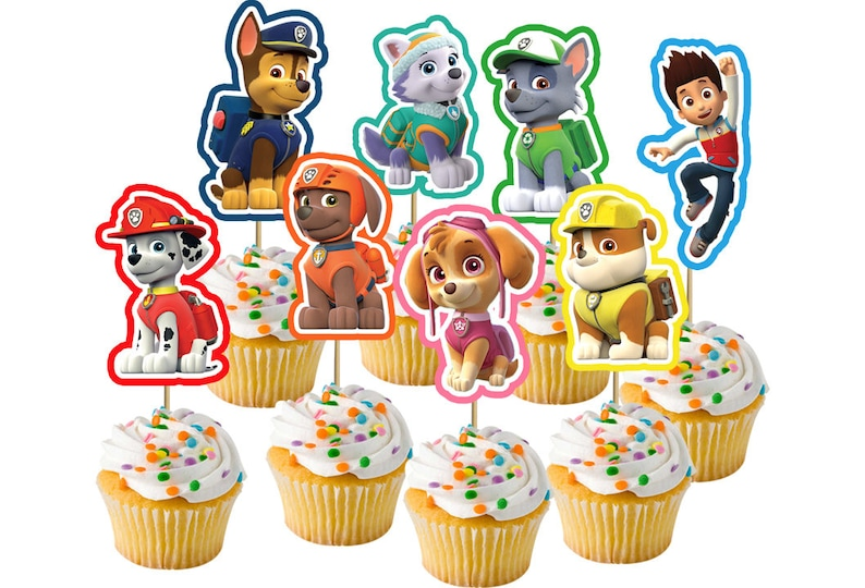 picture regarding Cupcake Printable known as Printable Paw Patrol cupcake toppers - prompt obtain - Social gathering Programs - Paw Patrol - Cupcake decor - birthday bash Marshall Skye Chase Zuma