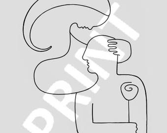 Couple abstract line drawing minimalist