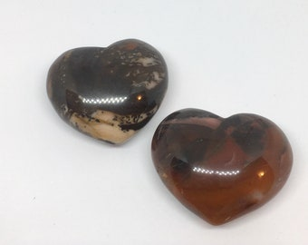 Bamboo Leaf Agate Crystal Puffy Heart Stone