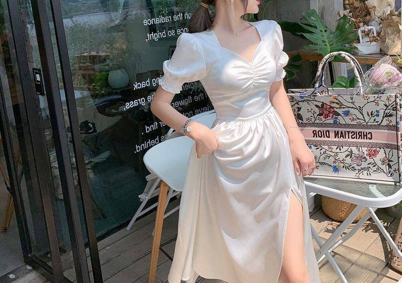 Puff Sleeve Retro Vintage Dress Elegant Bustier White Fairy Dress Milkmaid Slip Dress