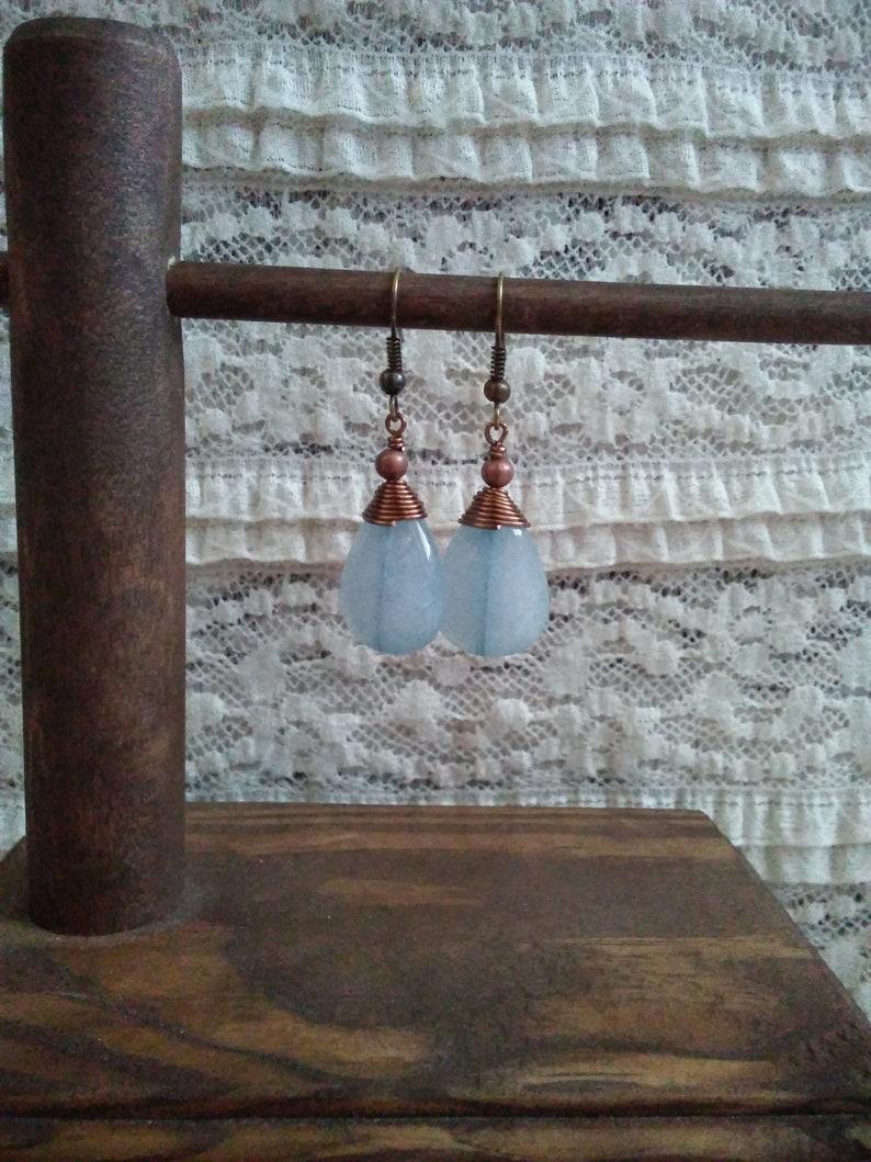 Blue Boho Earrings Blue Stone Earrings Blue Dangle Earrings Native Earrings Copper Earrings Raw Crystal Earrings Quartz Earrings