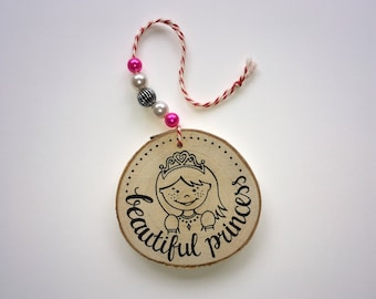 Wood hanging • BEAUTIFUL Princess • Princess-beads-Children's room-girl-baby room-kraamkado-lettering-real Maddy-Beads
