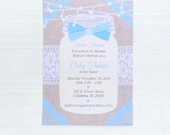 Rustic Mason Jar Baby Shower Invitation Boy