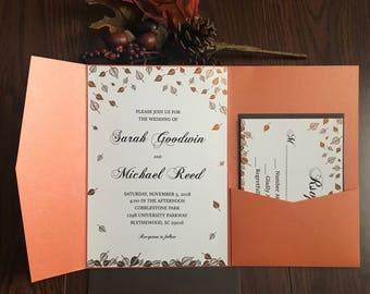 SAMPLE: Fall Pocket Fold Wedding Invitation