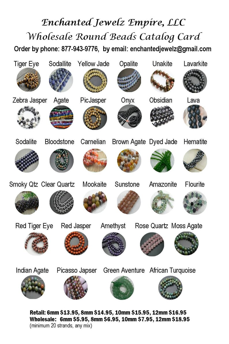 WHOLESALE GEMSTONE BEADS 5.95 per stand 16 & 34 inch strands image 0