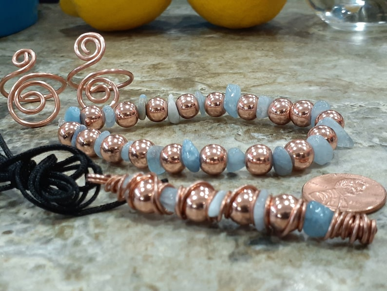 4pc SET Aquamarine & Copper Plated Hematite image 0
