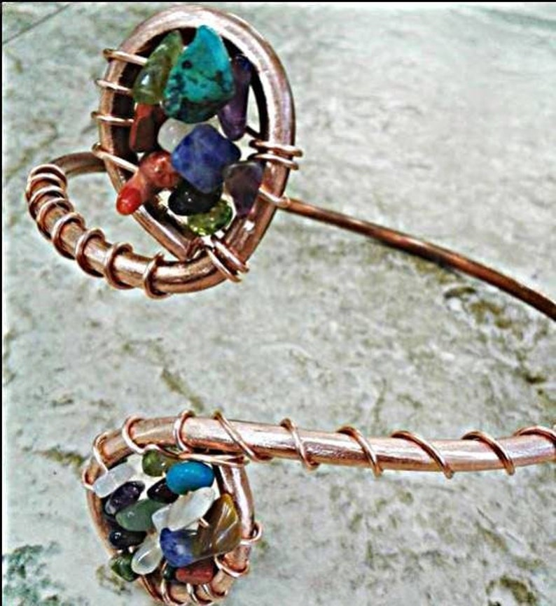 Multi  Gemstone Copper Cuff image 0