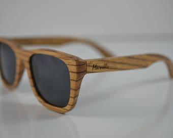 b9b35bea5968a4 Handgemaakte Bazeez gerookte houten zonnebrillen - houten zonnebril  gepolariseerd - 100% UVA UVB - Unisex - Mens - Womens - Marvello