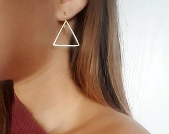 Gold triangle earrings/ matte gold earrings/ minimalist earrings/ thin earrings/ drop earrings/ gold earrings/ everyday earrings