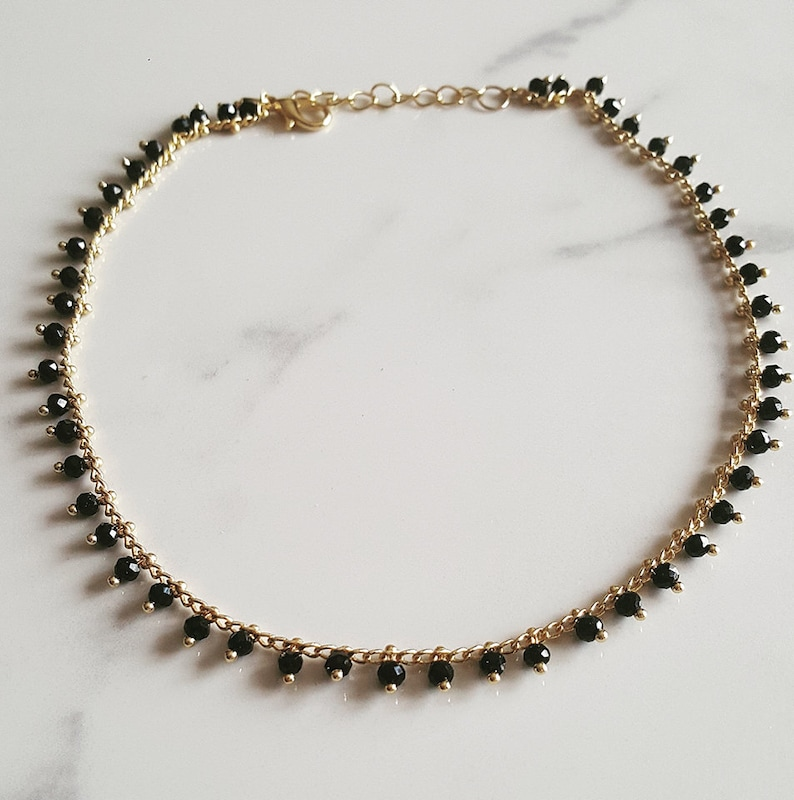 Delicate black beaded chokerdainty choker crystal beads gold filled necklace gift for her choker beaded choker short necklace