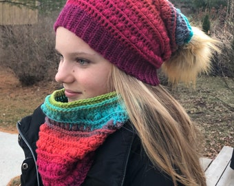 60cf41c3743 Rainbow Textured Slouchy Hat and Cowl Pattern Bundle