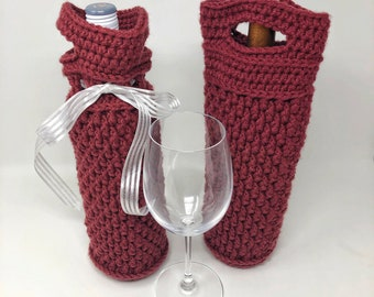 Harmony Wine Tote Crochet Pattern, Wine Gift Bag, Wine Carrier