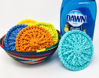 Sunburst Dish Scrubby Crochet Pattern, Kitchen Scrubbies, Pan Scrubber