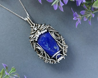 Norse Jewelry French Pendant Amethyst Crystal Elven Jewelry Raw Amethyst Necklace Heady Wire Wrapped Pendant