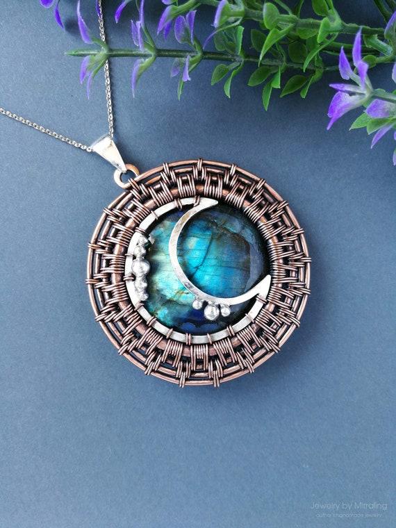 Eclipse Pendant, Sun And Crescent Moon, Labradorite Necklace, Wire Wrapped Pendant, Sci Fi Jewelry, Planets Necklace, Wire Wrapped Jewelry by Etsy