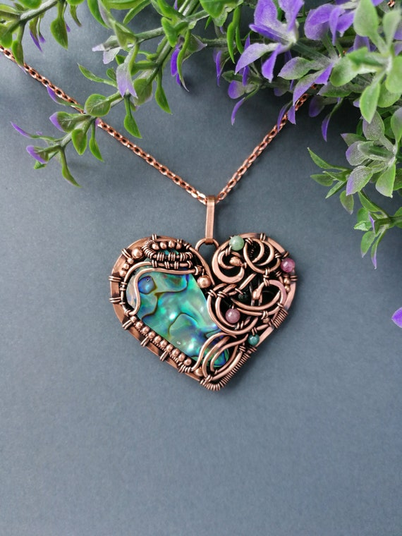 Heart Pendant, Abalone Shell Pendant, Heady Wire Wrapped Pendant, Bohemian Necklace, Romantic Gift For Her, Wire Wrapped Jewelry by Etsy