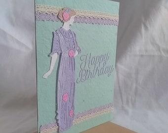 Lilac Edwardian Lady Birthday Card