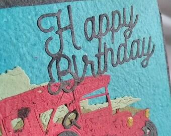 Vintage Car Birthday Card.