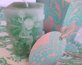 Faded Green Square Fairy Candle