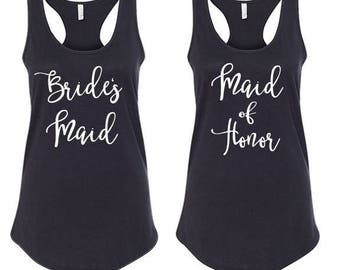 Bridal Party Tank Tops, Bride Tank Top, Bridesmaid Tank Top, Maid of Honor Tank Top, Bachelorette Party, 1533 BF