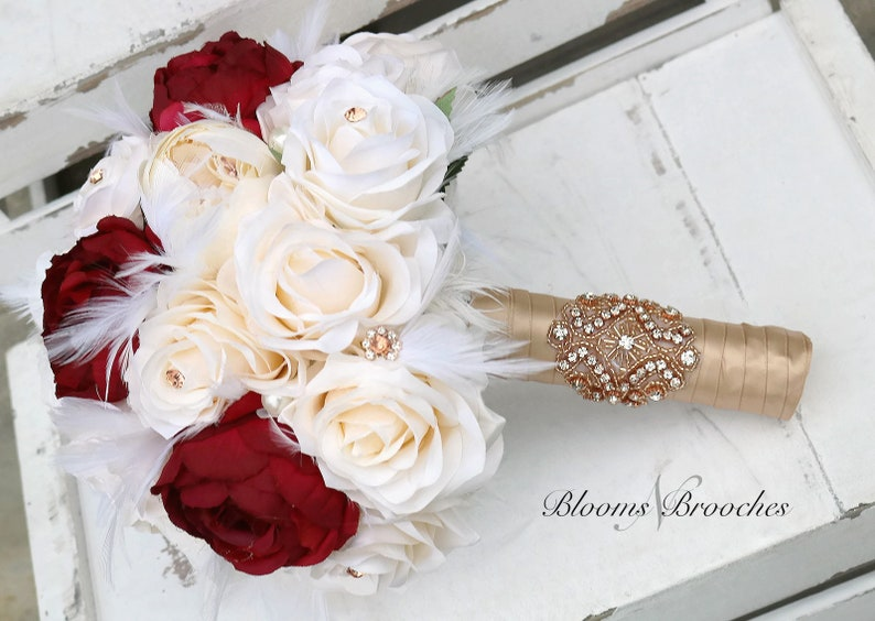 Wine and cream bouquet bridesmaids wine ivory Weedding Bouquet Feather Bridal bouquet Gatsy Wedding Rose Gold Bouquet