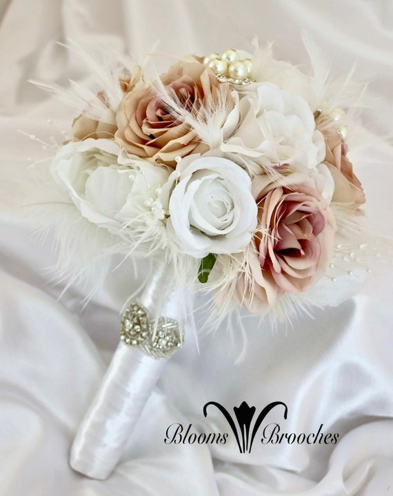 Bridal Bouquet Feather Brooch Bouquet Gatsy Wedding Wedding Etsy