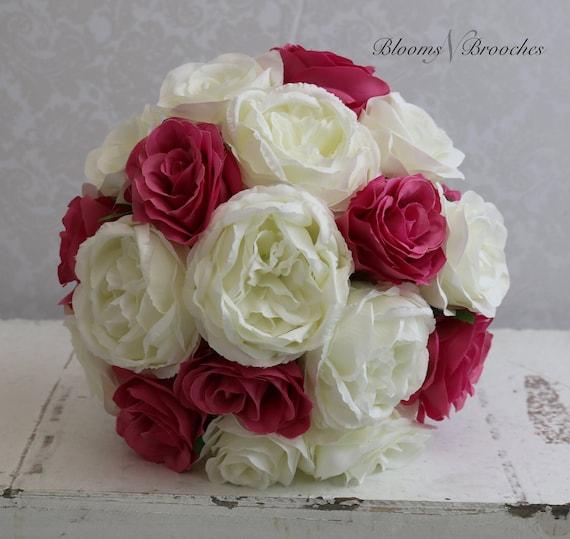 Bouquet Sposa Avorio.Avorio E Hot Pink Bouquet Da Sposa Fiori Matrimonio Bouquet Etsy