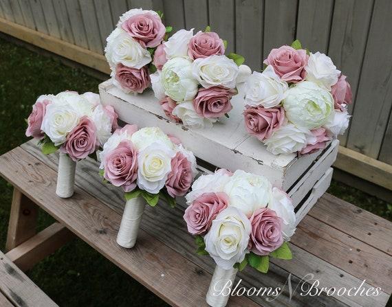 Dusty flower bridesmaid corsage Dusty wedding flower corsage Dusty pink blush gold flower corsage Bridal flower corsage
