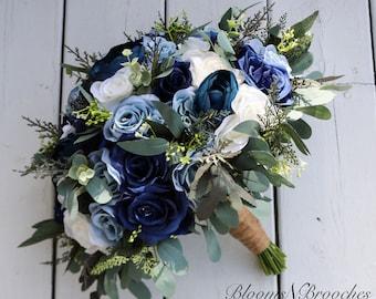 Wedding bouquet, Navy, Dusty Blue  and  Ivory Bridal bouquet, Wedding Flowers, Boho Wedding, Corsage, bridal Flower Package