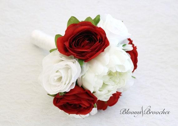 Bouquet Sposa Rosso.Bouquet Rosso E Bianco Fiori Di Nozze Mazzi Da Da Sposa Etsy