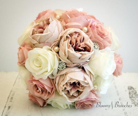 flowers winter BridesmaidMOH Real Touch flowers wedding christmas Blush pine wedding bouquet cream ivory silk roseroses
