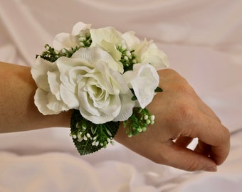 Wrist corsage,  Blush wrist corsage, wedding corsage, Prom corsage, bridesmaid corsage, mother of the bride corsage