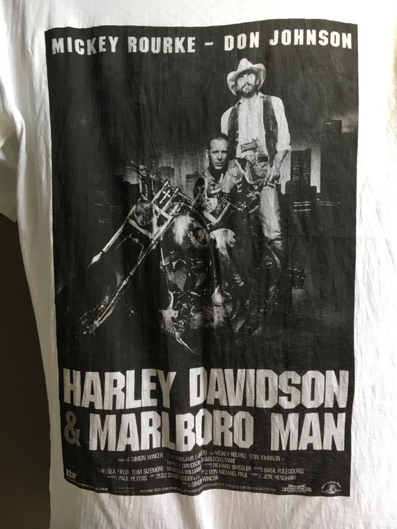 Free Ship Vintage 90s Harley davidson And The Marlboroman Movie Poster Promo T-Shirt / Size M 19.5