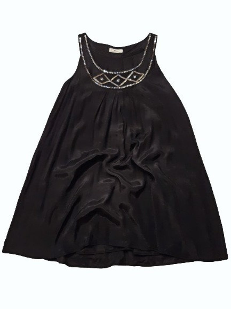 dress 2XL-4XL Chic black flared midi dress with embroidery of glass beads on the neckline sundress a-line sleeveless