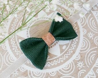 42cd65b628889 Noeud papillon champêtre, noeud papillon bohème en toile de jute, noeud  papillon vert, noeud papillon en liège