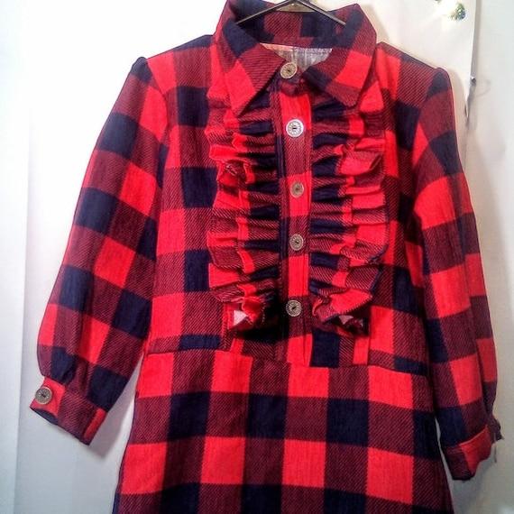 Vintage Red & Black Plaid Ruffle Maxi Dress Size X