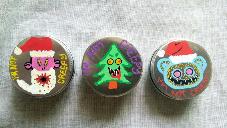 Christmas Pin Tins hand-painted I/'M NOT CREEPY weird jewelry unique gift idea jewellery box weird jewelry goth horror fun a creepy gift
