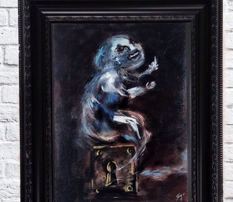Dark art print creepy demon old painting reproduction framed wall art  macabre art print fine art painting
