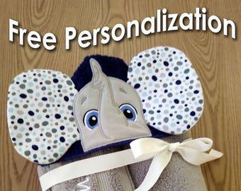 Elephant Hooded Towel  / Character Hooded Towel / Custom Kids Character Towel