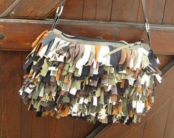gray leather bag and fringe ruffles