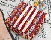 Vintage Berber Pouf Moroccan Kilim Floor Cushion Floor Seat Pillow Wool square Ottoman Sequins fringes geometric Handira Wedding Blanket