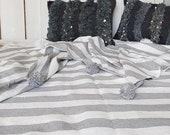 XL Moroccan Berber Blanket Pompoms handwoven cotton stripe day blanket plaid hygge gift him grey white throw Outdoor Boho Summer