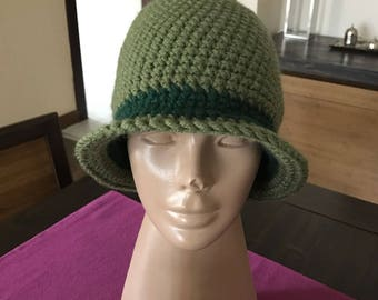Women Crochet Hat, Green Crochet Hat, Crochet Winter Hat, Womens Hat, Womens Crochet Hat, Crochet Cloche Hat, Gift For Wife, Gift For Mom